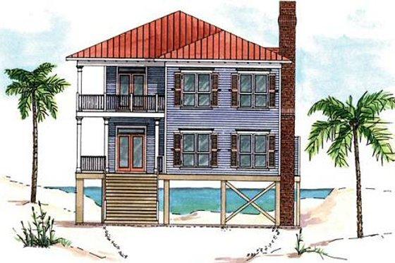 Beach Exterior - Front Elevation Plan #37-129