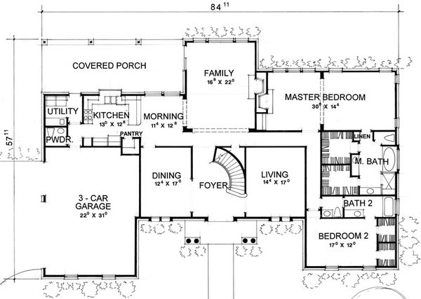 Classical Style House Plan - 4 Beds 4.5 Baths 3559 Sq/Ft Plan #472-1 Floor Plan - Main Floor Plan