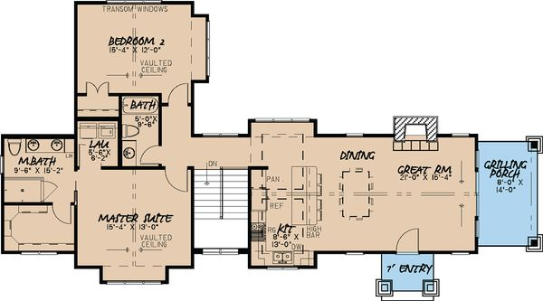 Craftsman Floor Plan - Main Floor Plan Plan #923-23