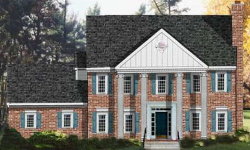 Classical Exterior - Front Elevation Plan #3-185