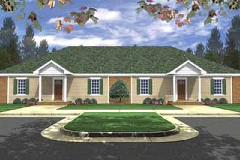 Ranch Style House Plan - 3 Beds 2 Baths 2728 Sq/Ft Plan #21-138 Exterior - Front Elevation