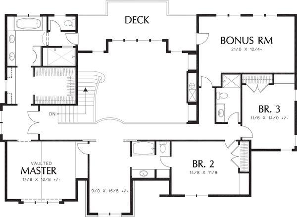 Tudor Style House Plan - 3 Beds 3.5 Baths 3560 Sq/Ft Plan #48-664 Floor Plan - Upper Floor Plan