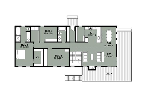 Beach Floor Plan - Main Floor Plan Plan #497-1