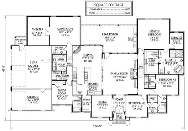 Country Floor Plan - Main Floor Plan Plan #1074-20