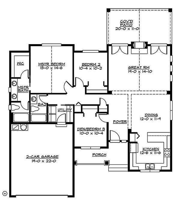 Craftsman Floor Plan - Main Floor Plan Plan #132-196
