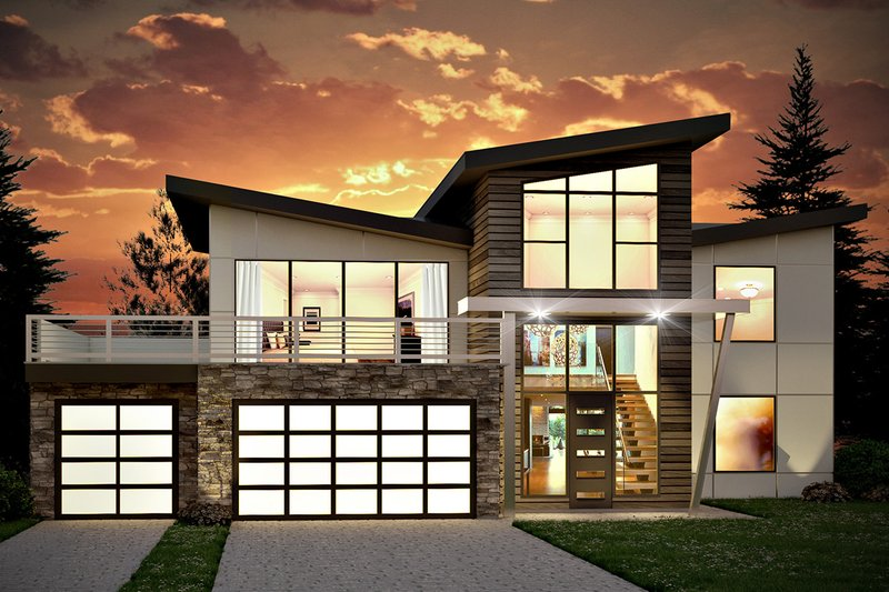 Modern Style House Plan - 4 Beds 2.5 Baths 3526 Sq/Ft Plan #1073-4 Exterior - Front Elevation
