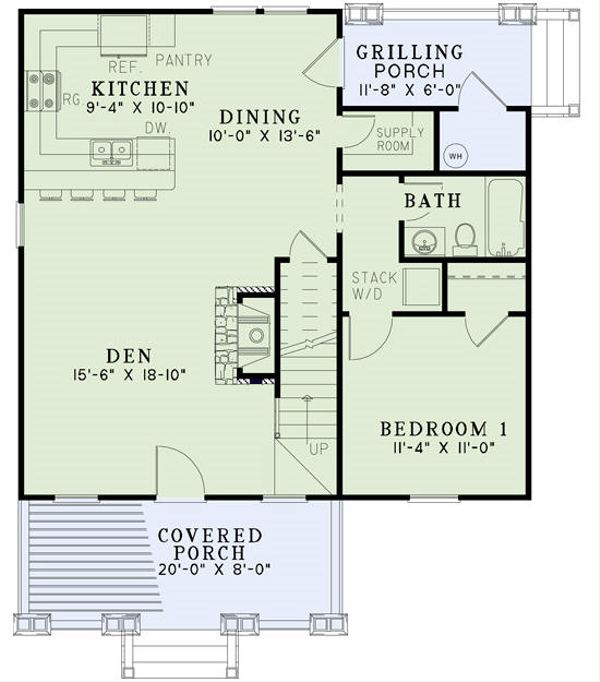 Dream House Plan - Cottage Floor Plan - Main Floor Plan #17-2451