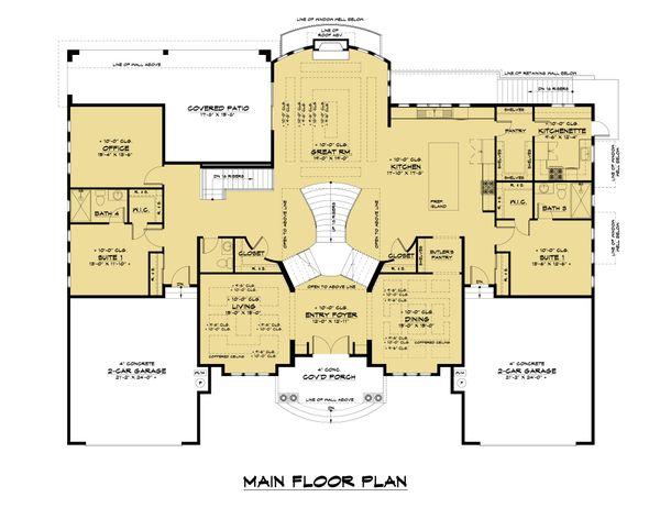 Mediterranean Floor Plan - Main Floor Plan #1066-124