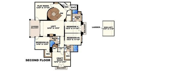 Mediterranean Floor Plan - Upper Floor Plan Plan #27-466