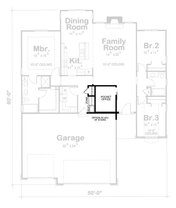 Architectural House Design - Ranch Floor Plan - Other Floor Plan #20-1869