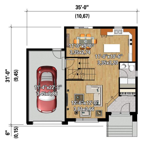 Contemporary Floor Plan - Main Floor Plan Plan #25-4340