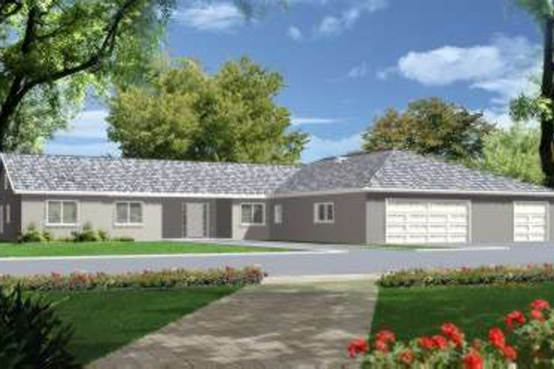 Ranch Style House Plan - 4 Beds 3.5 Baths 2822 Sq/Ft Plan #1-695 Exterior - Front Elevation