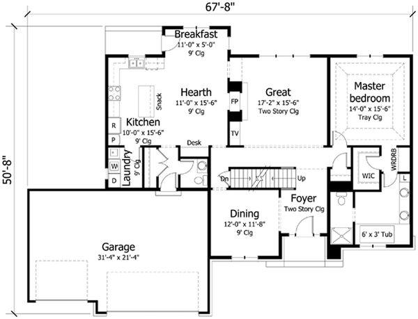 Traditional Floor Plan - Main Floor Plan Plan #51-406