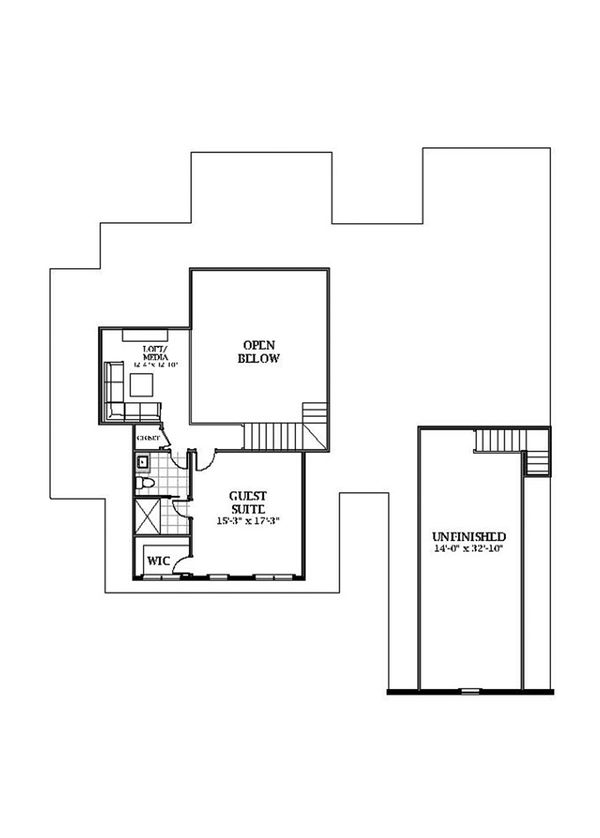 Farmhouse Floor Plan - Upper Floor Plan Plan #898-50