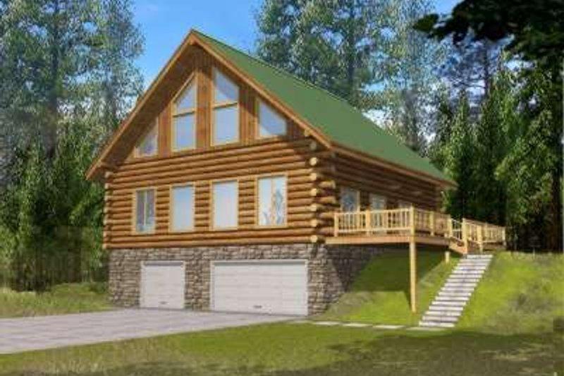 Dream House Plan - Log Exterior - Front Elevation Plan #117-475