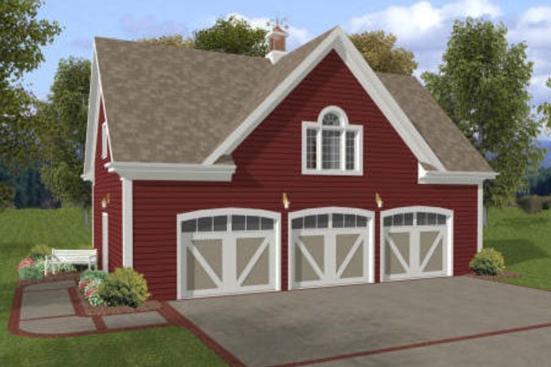Farmhouse Style House Plan - 1 Beds 1 Baths 750 Sq/Ft Plan #56-552 Exterior - Front Elevation