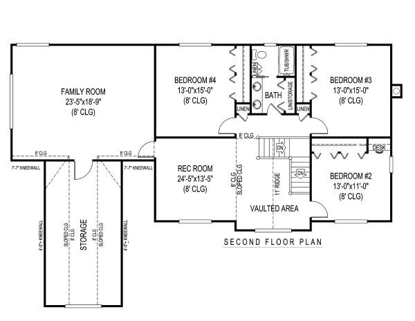 Country Floor Plan - Upper Floor Plan #11-233