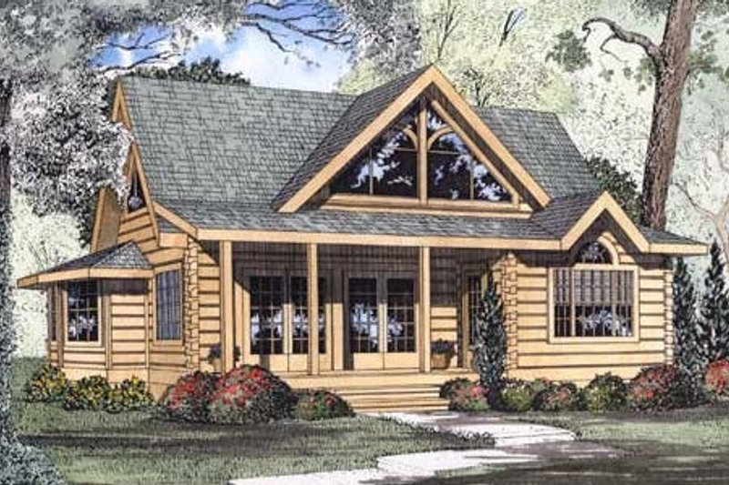 Log Style House Plan - 2 Beds 2.5 Baths 1449 Sq/Ft Plan #17-462 Exterior - Front Elevation
