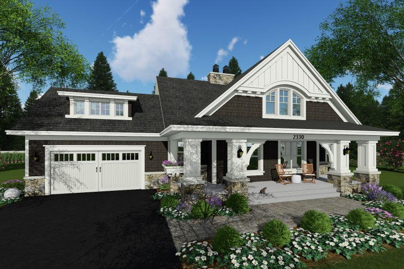 Craftsman Style House Plan - 3 Beds 2.5 Baths 2500 Sq/Ft Plan #51-586 Exterior - Front Elevation
