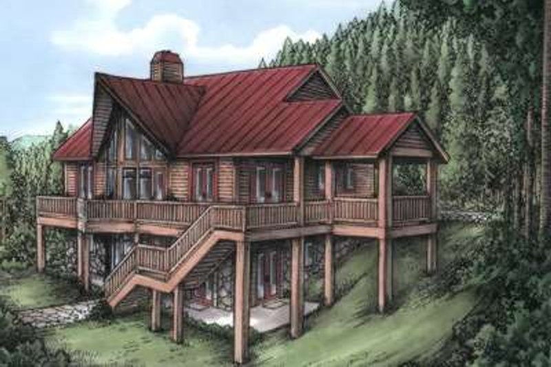 Cabin Style House Plan - 4 Beds 4.5 Baths 2770 Sq/Ft Plan #115-159 Exterior - Front Elevation