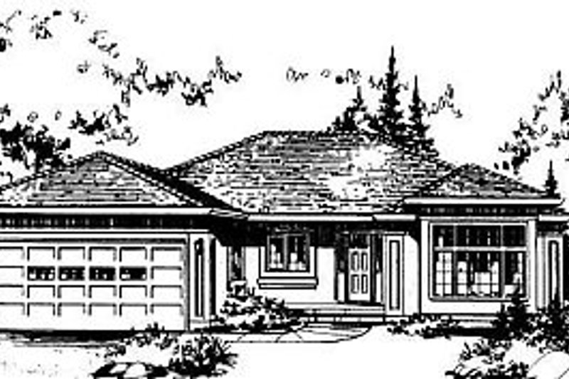 Ranch Style House Plan - 3 Beds 2 Baths 1870 Sq/Ft Plan #18-109 Exterior - Front Elevation