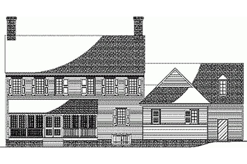 Colonial style, Southern design home, rear elevation