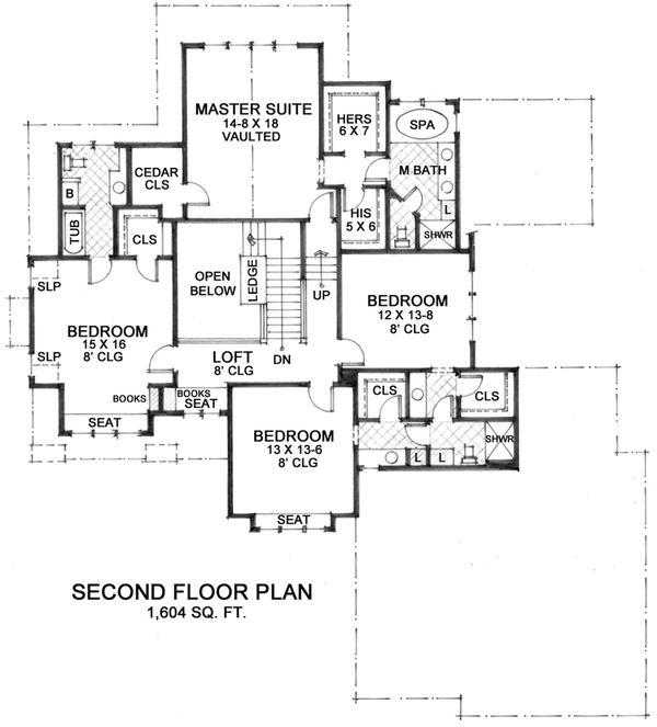 Country Floor Plan - Upper Floor Plan Plan #51-561