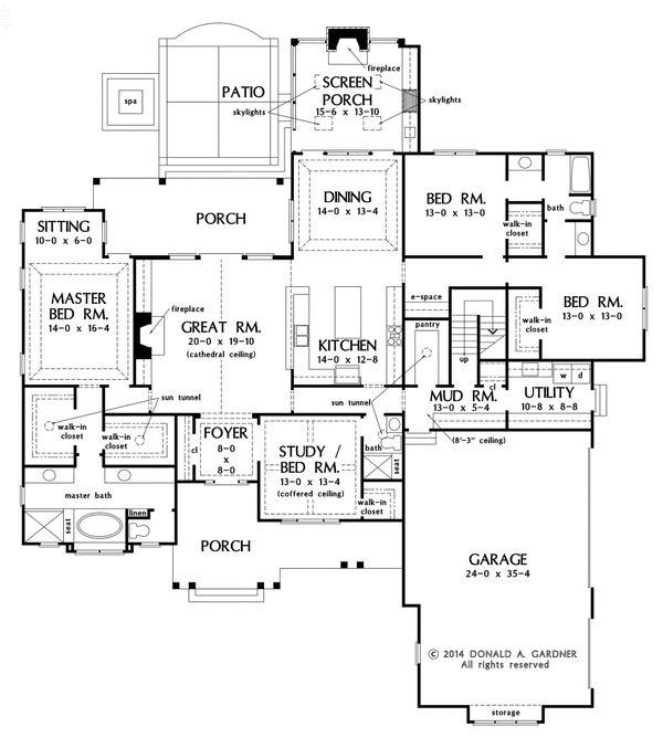 Craftsman Floor Plan - Main Floor Plan Plan #929-7