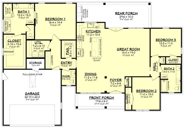 House Blueprint - Farmhouse Floor Plan - Main Floor Plan #430-245