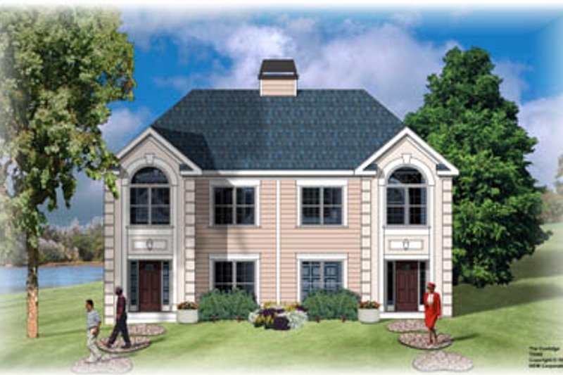 European Style House Plan - 3 Beds 2.5 Baths 2920 Sq/Ft Plan #26-208 Exterior - Front Elevation