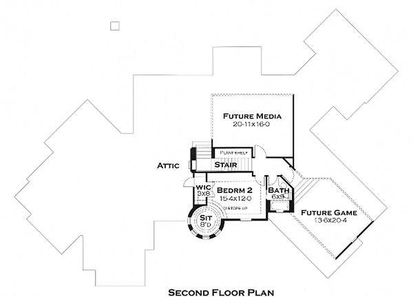 Upper Level Floor Plan - 3200 square foot European home