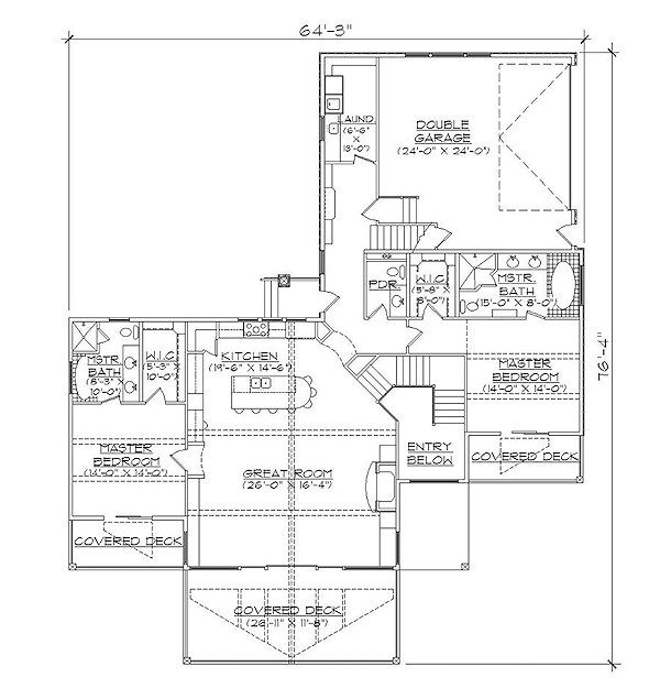 Bungalow Floor Plan - Main Floor Plan Plan #5-377