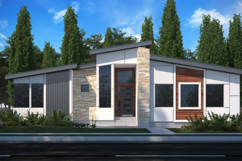 Modern Style House Plan - 3 Beds 2 Baths 1791 Sq/Ft Plan #1073-22 Exterior - Front Elevation