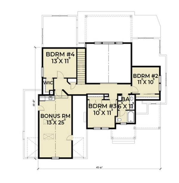 Craftsman Floor Plan - Upper Floor Plan Plan #1070-13