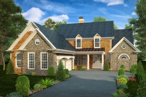 Country Exterior - Front Elevation Plan #30-343