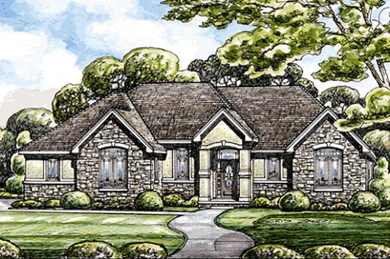 Architectural House Design - Traditional Exterior - Front Elevation Plan #20-2098