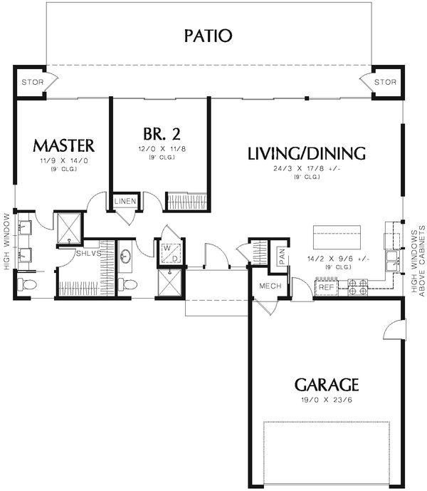 Contemporary Floor Plan - Main Floor Plan Plan #48-667