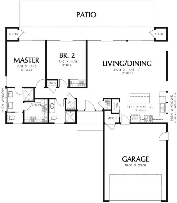 Contemporary Style House Plan - 2 Beds 2 Baths 1766 Sq/Ft Plan #48-667 Floor Plan - Main Floor Plan