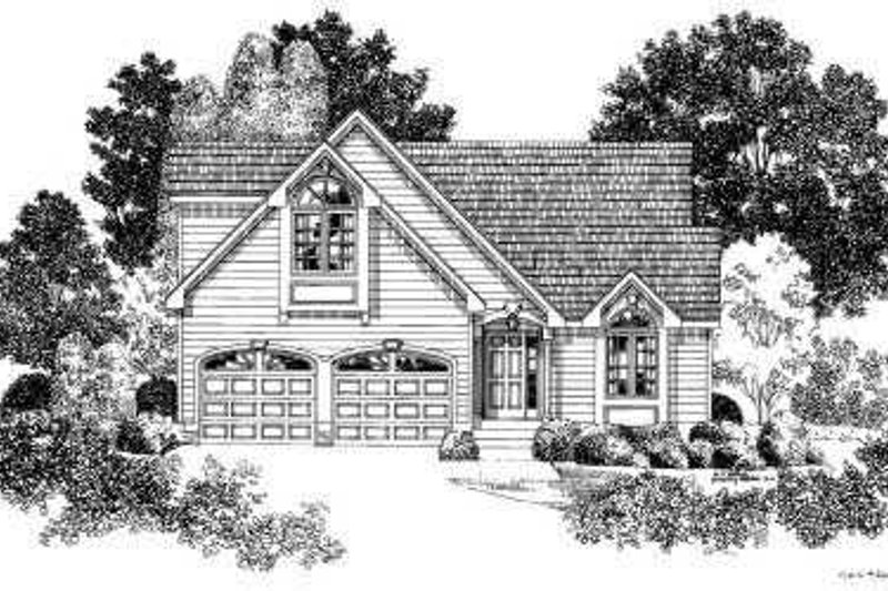 Traditional Style House Plan - 3 Beds 2.5 Baths 1459 Sq/Ft Plan #75-162 Exterior - Front Elevation