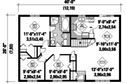 Country Style House Plan - 3 Beds 1 Baths 1040 Sq/Ft Plan #25-4830 Floor Plan - Main Floor Plan