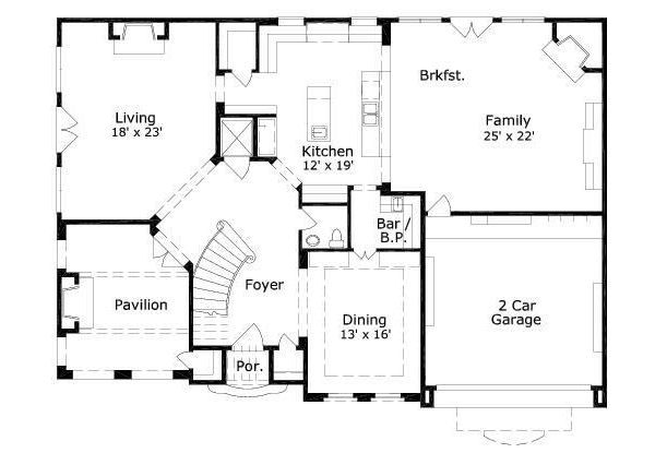 European Floor Plan - Main Floor Plan Plan #411-656