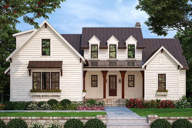 Farmhouse Style House Plan - 4 Beds 3.5 Baths 2744 Sq/Ft Plan #927-998 Exterior - Front Elevation