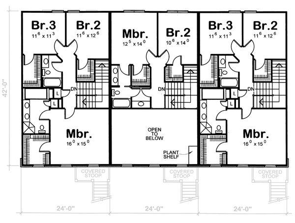 Traditional Floor Plan - Upper Floor Plan #20-629