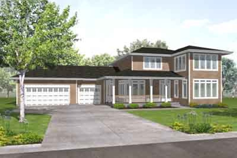 Contemporary Style House Plan - 3 Beds 2.5 Baths 2528 Sq/Ft Plan #50-257 Exterior - Front Elevation