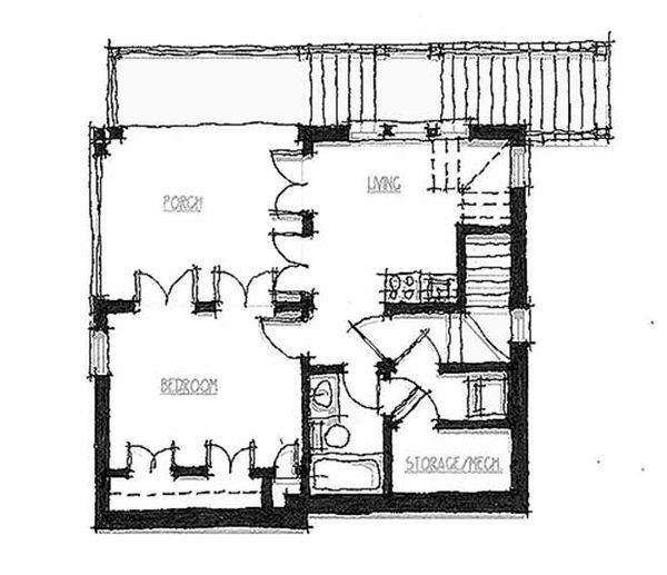 Cottage Style House Plan - 3 Beds 3 Baths 1841 Sq/Ft Plan #464-9 Floor Plan - Lower Floor Plan