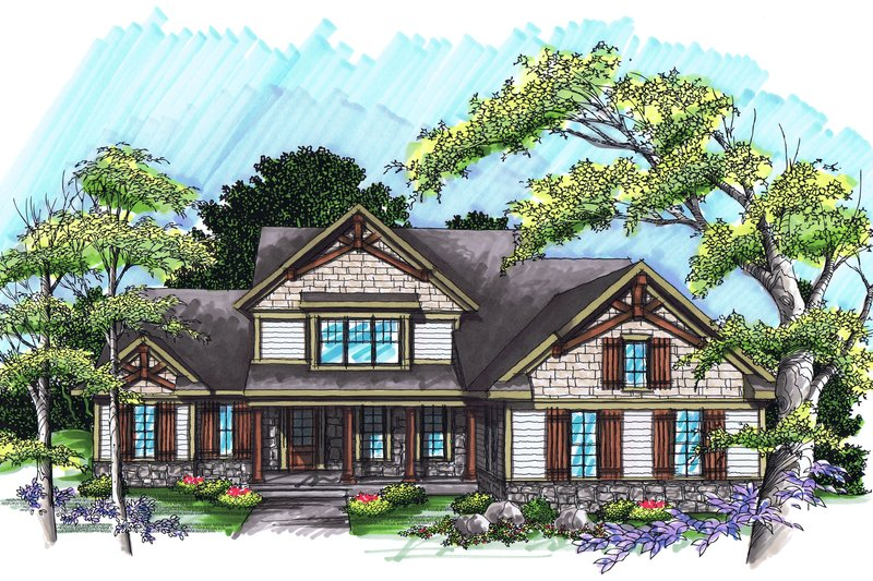 Traditional Exterior - Front Elevation Plan #70-1037