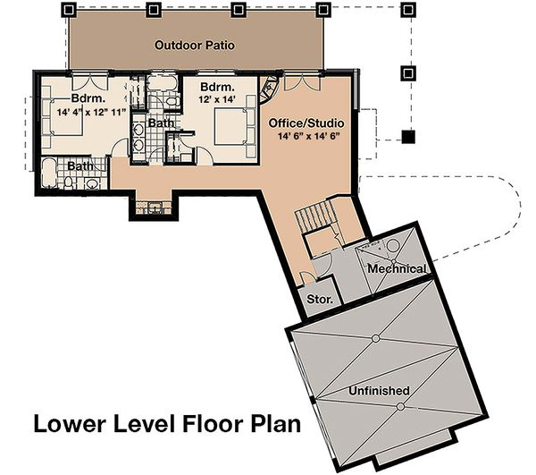 Craftsman Floor Plan - Lower Floor Plan Plan #908-1