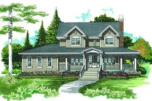 Colonial Exterior - Front Elevation Plan #47-388
