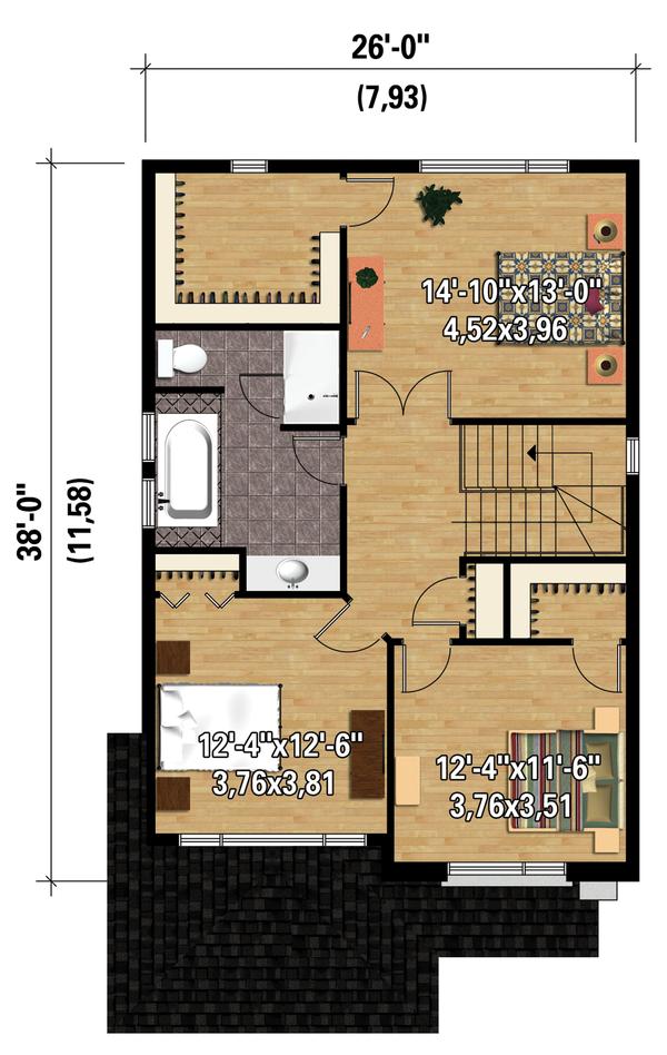 Contemporary Floor Plan - Upper Floor Plan Plan #25-4288