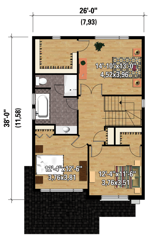 Contemporary Floor Plan - Upper Floor Plan Plan #25-4288